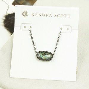 Kendra Scott Elisa Necklace Abalone Shell Gunmetal